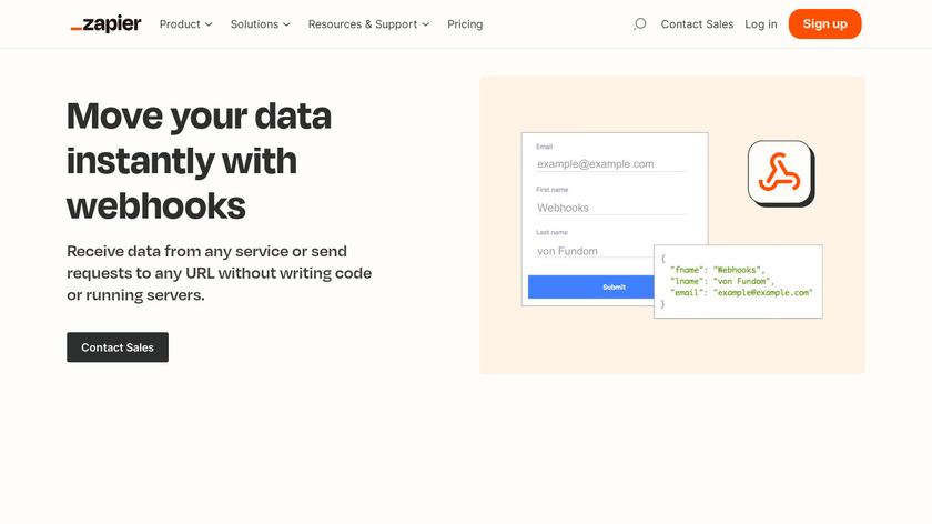 Webhooks by Zapier Landing Page