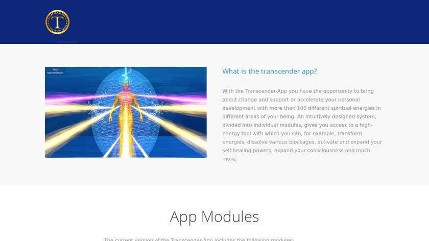 Transcender Healing App Landing Page