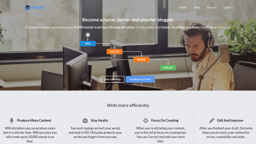 Dictandu Landing Page
