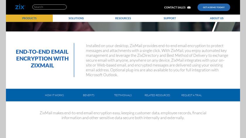 ZixMail Landing Page