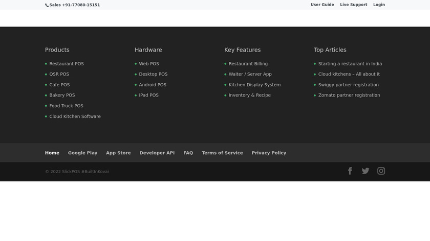 SlickPOS Landing Page