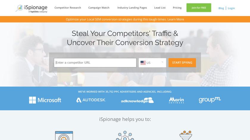 iSpionage Landing Page
