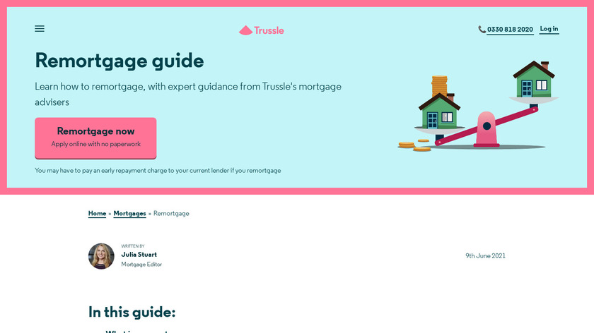 Mortgage Monitor by Trussle Landing Page