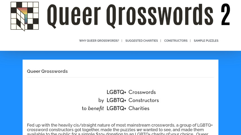 Queer Qrosswords Landing Page