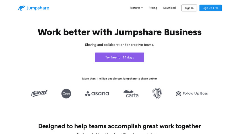 Jumpshare for Business Landing Page