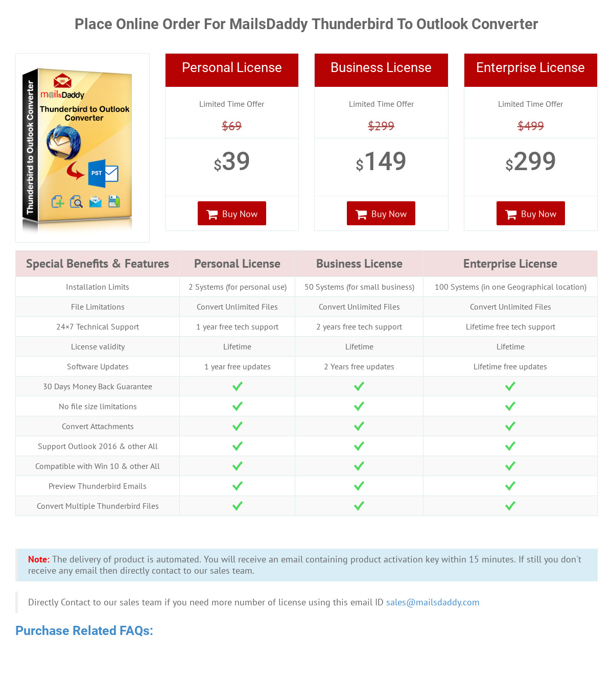 MailsDaddy Thunderbird to Outlook Converter Pricing as of 2019-07-31