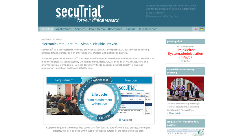 secuTrial Landing Page