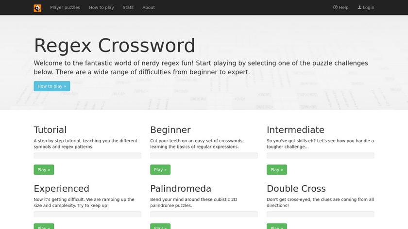 Regex Crossword Landing Page