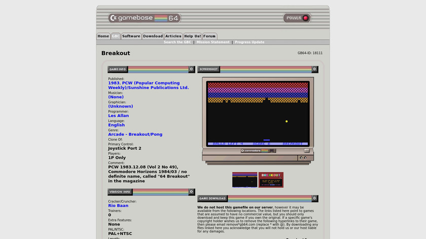 Breakout by GameBase64 Landing Page