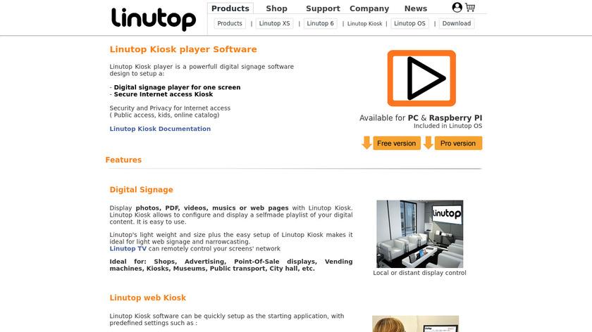 Linutop Kiosk Landing Page