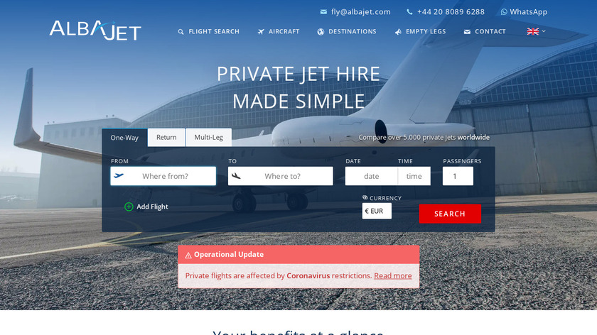 AlbaJet Charter GmbH Landing Page