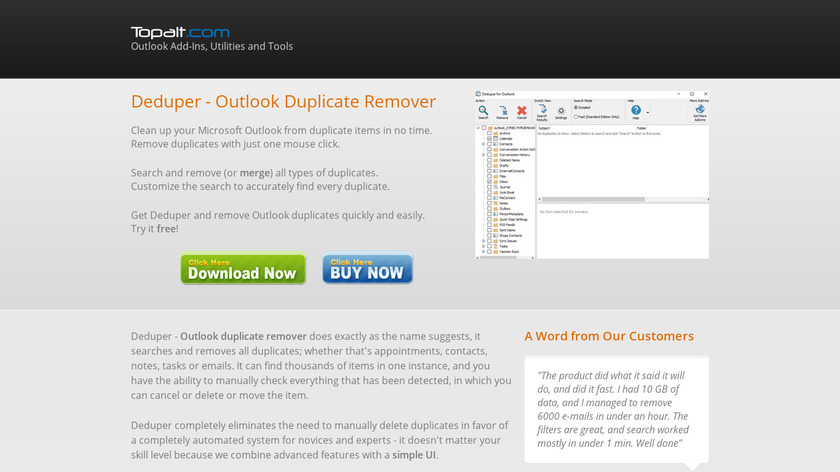 Deduper for Outlook Landing Page