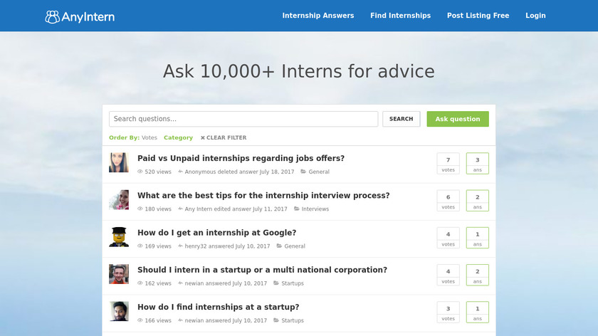 Intern Answers Landing Page
