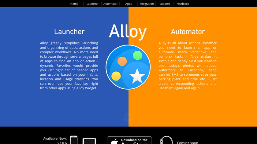 Alloy - Launcher and Automator Landing Page