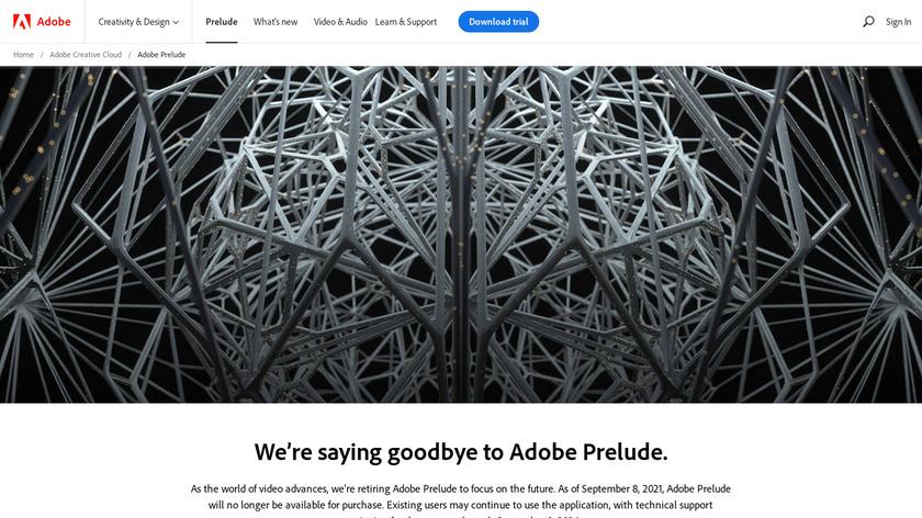 Adobe Prelude Landing Page