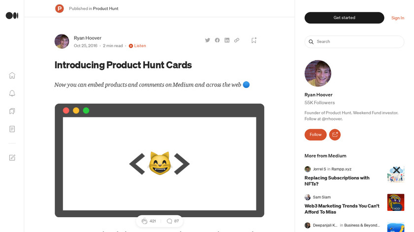 Product Hunt Cards Landing Page