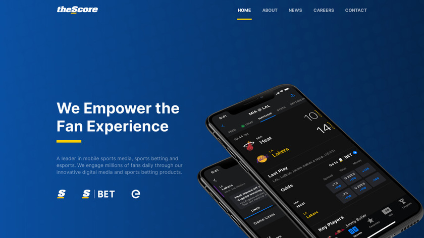 theScore for Facebook Messenger Landing Page
