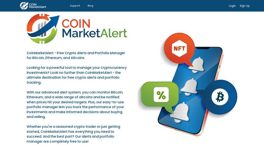 CoinMarketAlert Landing Page