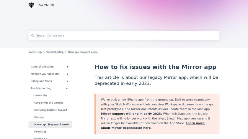 Sketch Mirror Landing Page