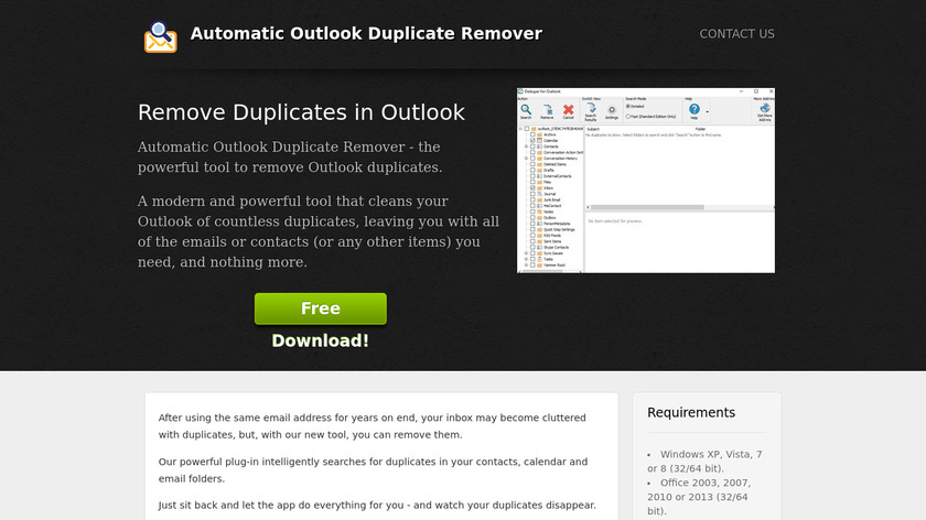 Automatic Outlook Duplicate Remover Landing Page