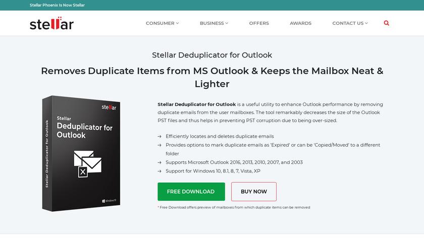 Stellar Phoenix Outlook Duplicate Remover Landing Page