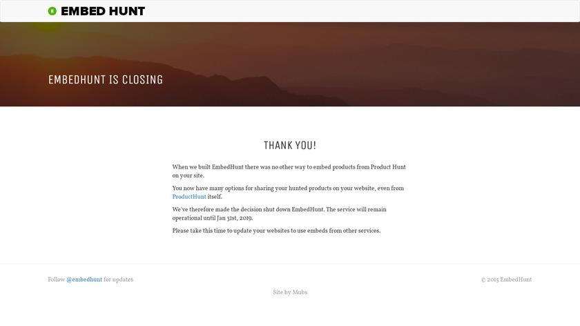 Embed Hunt Landing Page