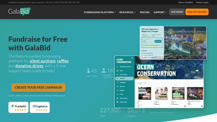 GalaBid Landing Page
