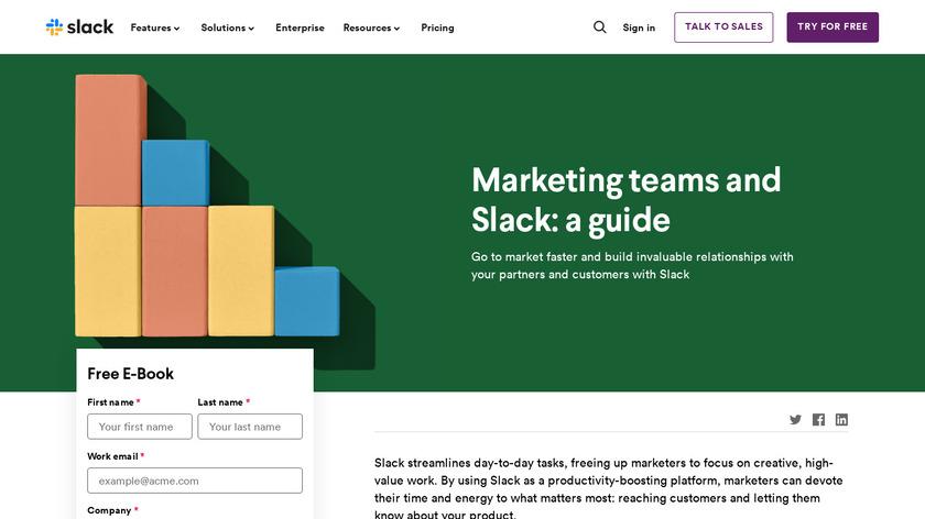 Marketing Teams and Slack Landing Page