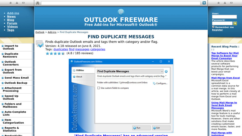 Find Duplicate Messages for Outlook Landing Page