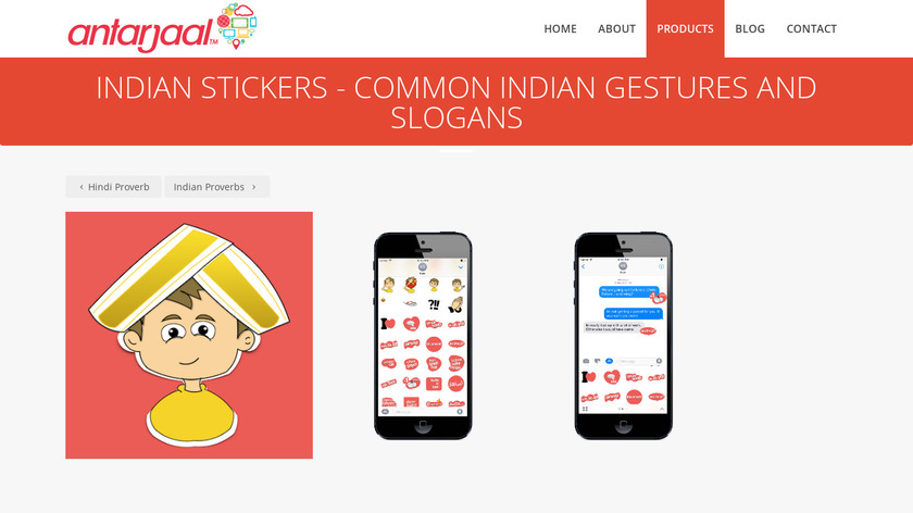 Indian Stickers Landing Page