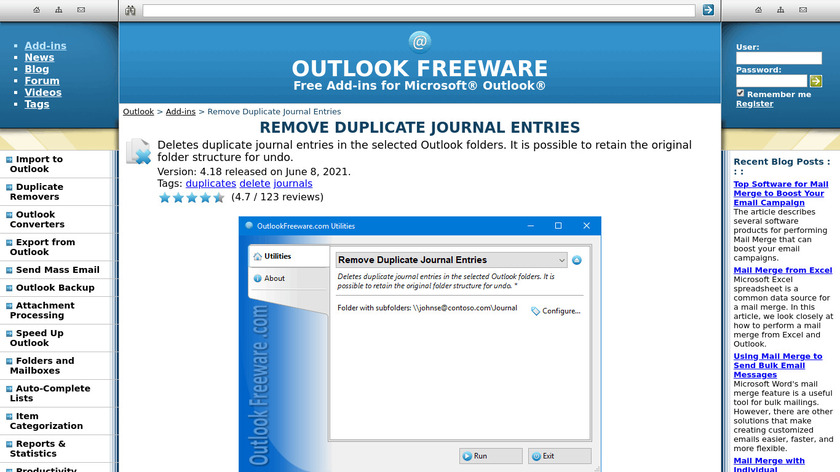 Remove Duplicate Journal Entries Landing Page