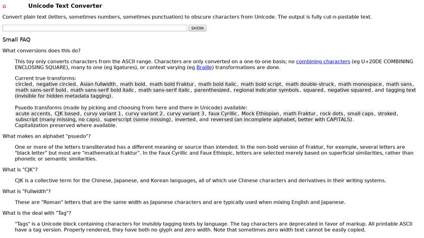 Unicode Text Converter Landing Page
