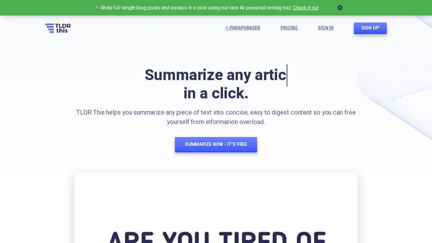 TLDR This Landing Page