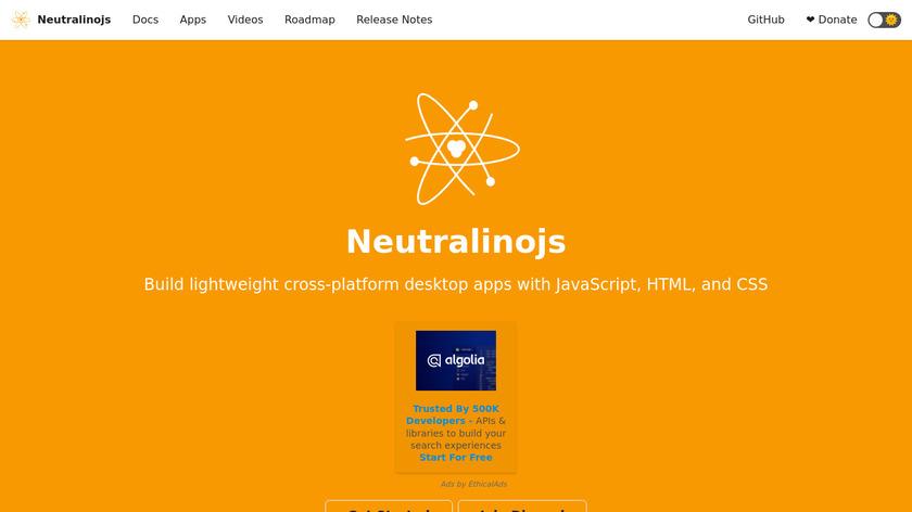 NeutralinoJS Landing Page