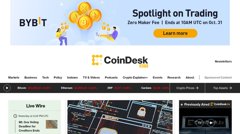 CoinDesk Landing Page