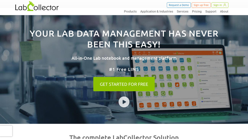 LabCollector LIMS Landing Page