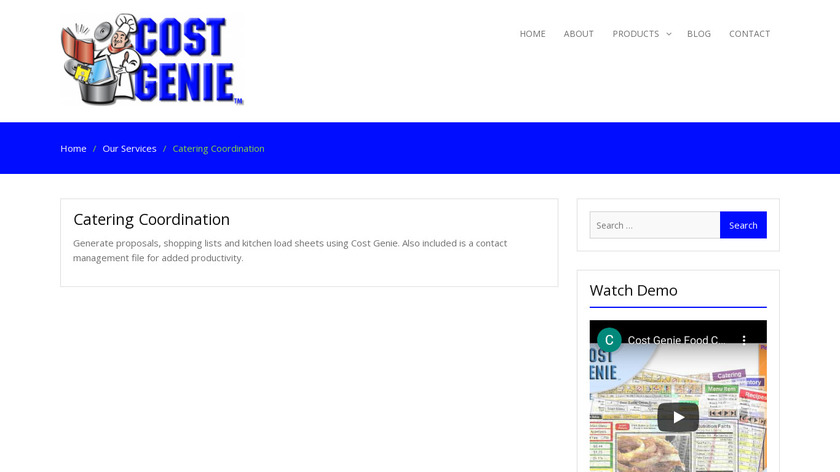 Cost Genie Catering Pro Landing Page