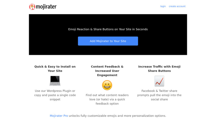 Mojirater Landing Page