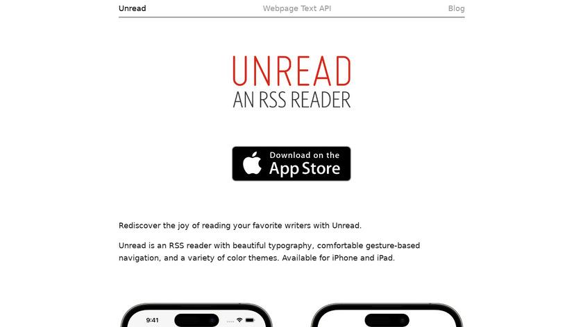 Unread for iPad Landing Page