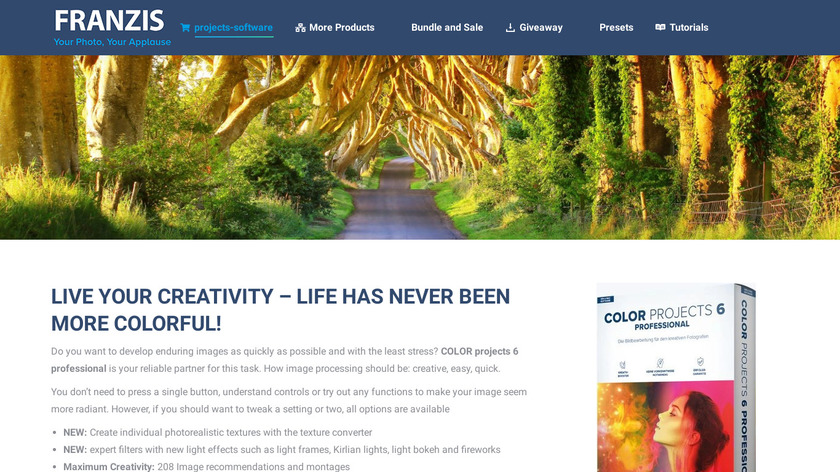 Franzis Color projects Landing Page