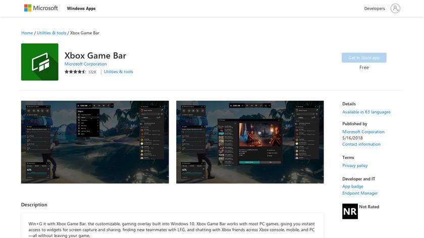 Microsoft Game Bar Landing Page