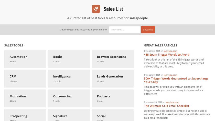 Sales List by Prospect.io Landing Page