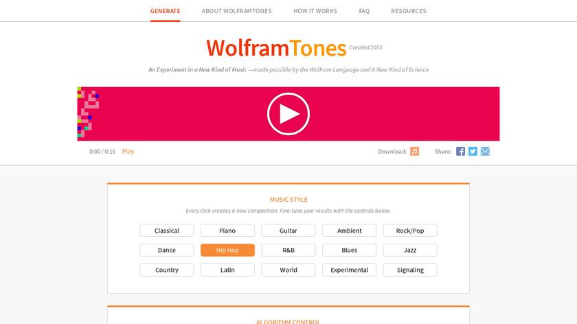WolframTones Landing Page