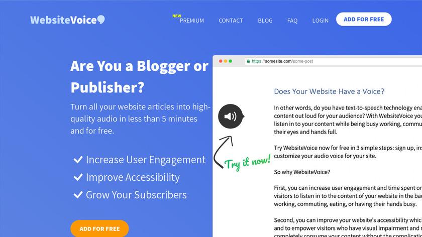 WebsiteVoice Landing Page