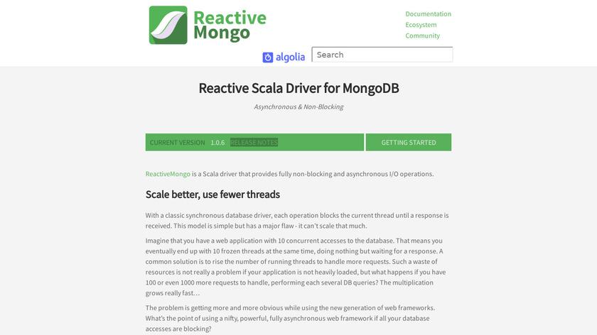 ReactiveMongo Landing Page