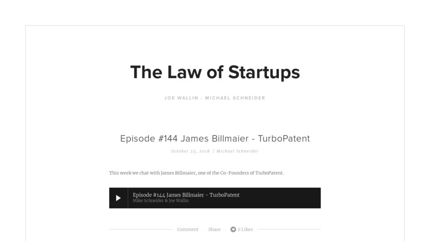 The Law of Startups Podcast Landing Page