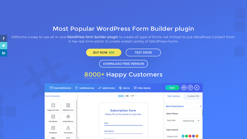 ARForms Wordpress Plugin Landing Page