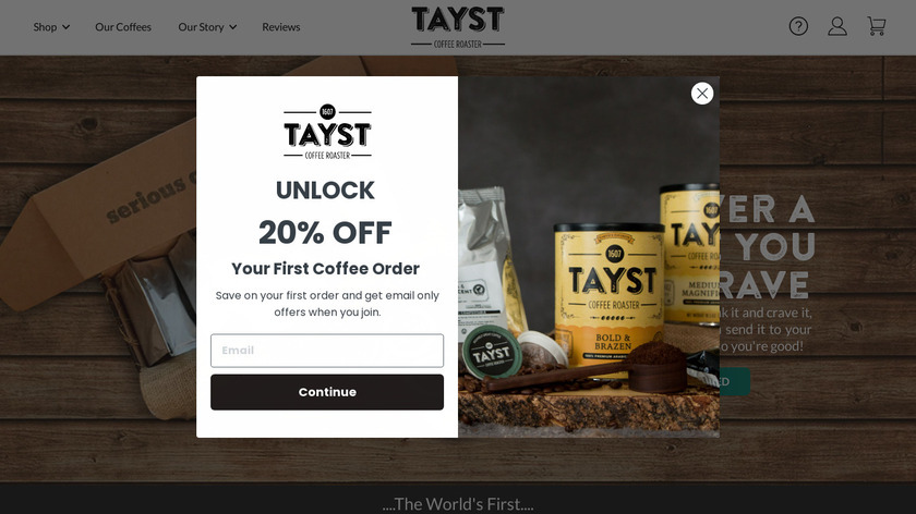 Tayst Coffee Roaster Landing Page