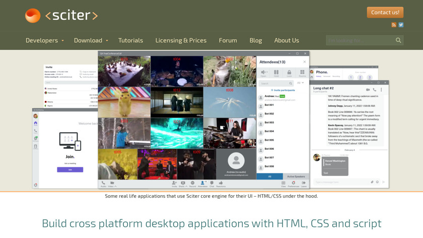 Sciter Landing Page