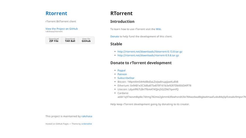 rTorrent Landing Page